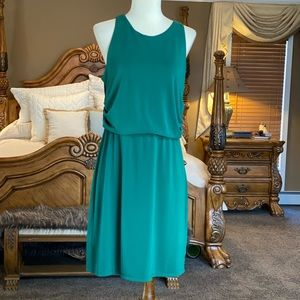 Ann Taylor Green Sleeveless Blouson Dress Size MP